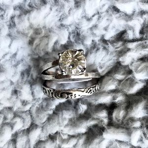 Silver and diamond Fantasy Ring Size 8